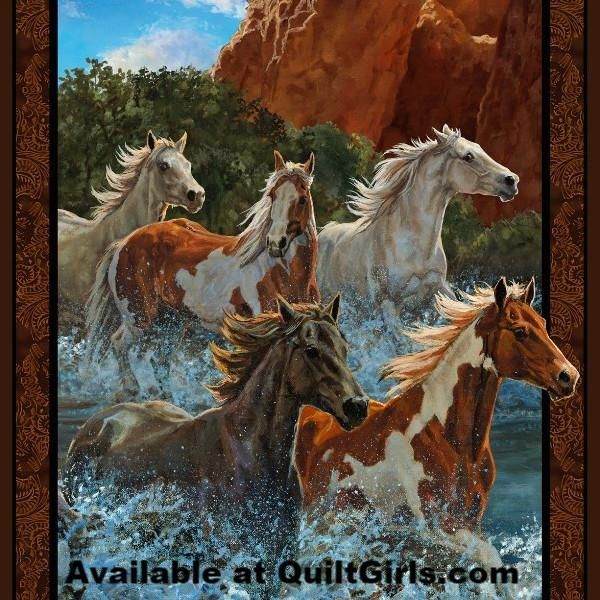 WESTERN SOUTHWESTERN WHITE  /& BROWN  HORSE FABRIC PANELS MAKE A SELECTION