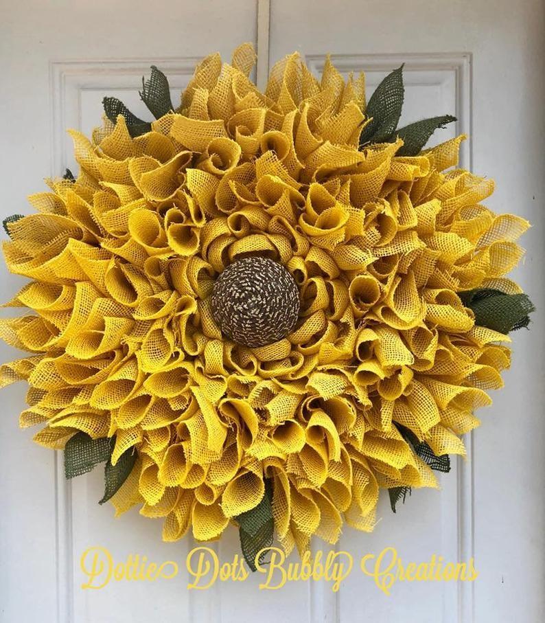 Photo of Sunflower Mesh Wreath, Sunflower Wreath, Summer Wreath, Fall Wreath, Everyday Wreath (SOLD)