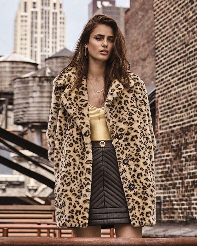 723a8afccec685 Taylor Hill wears leopard print coat, high-waist pencil skirt from Topshop