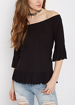 cd3c2e68bbb4c Black Ruffled Off-Shoulder Top