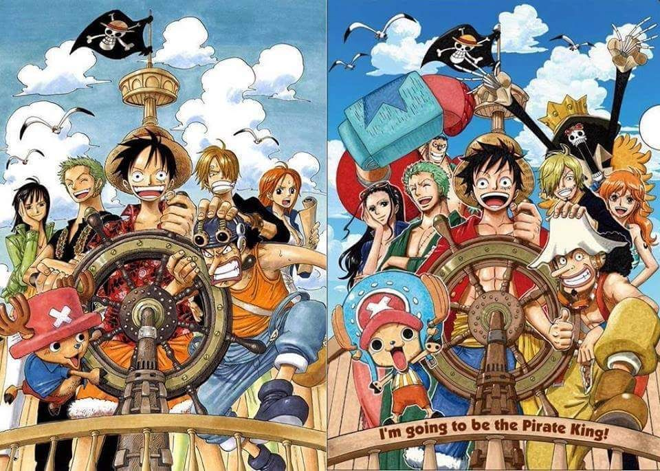 Ace was a notorious pirate of whitebeard's crew who was the sworn brother of luffy and sabo.the two shared an extremely close bond that was forged in their childhood. The Strawhats Then And Now One Piece Anime Anime One Piece Crew