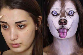 Watch This Woman Transform Into A Siberian Husky Using Makeup