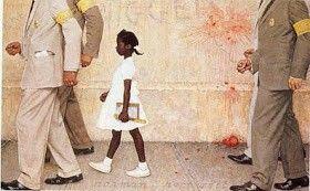 La storia di Ruby, la prima bambina afroamericana in una scuola di bianchi, che va a scuola scortata dallo sceriffo e dai suoi uomini - Norman Rockwell