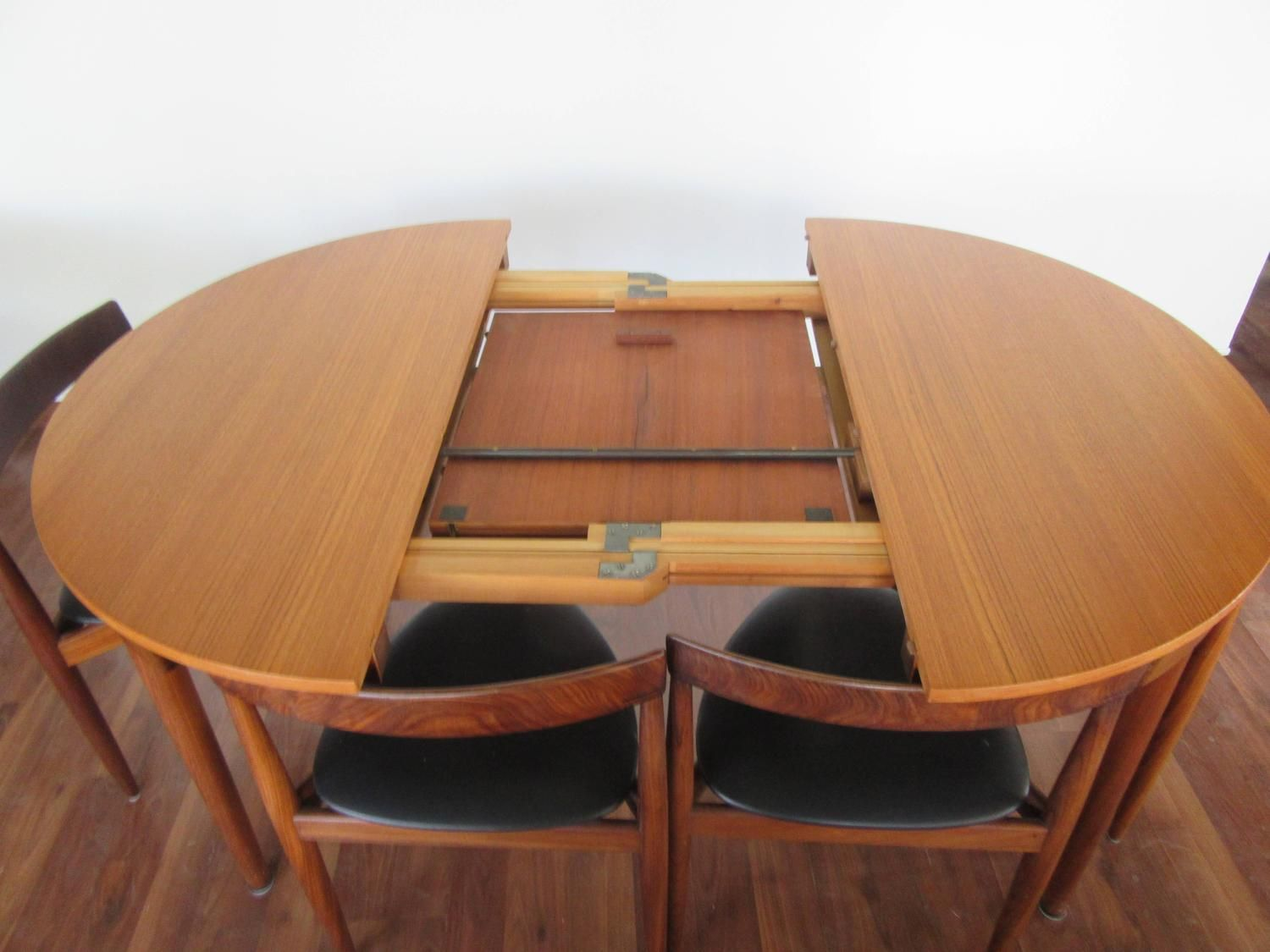 Rare Hans Olsen Teak Table With Leaf And Six Chairs That Tuck Under Table From A Unique Collection Of Antique And