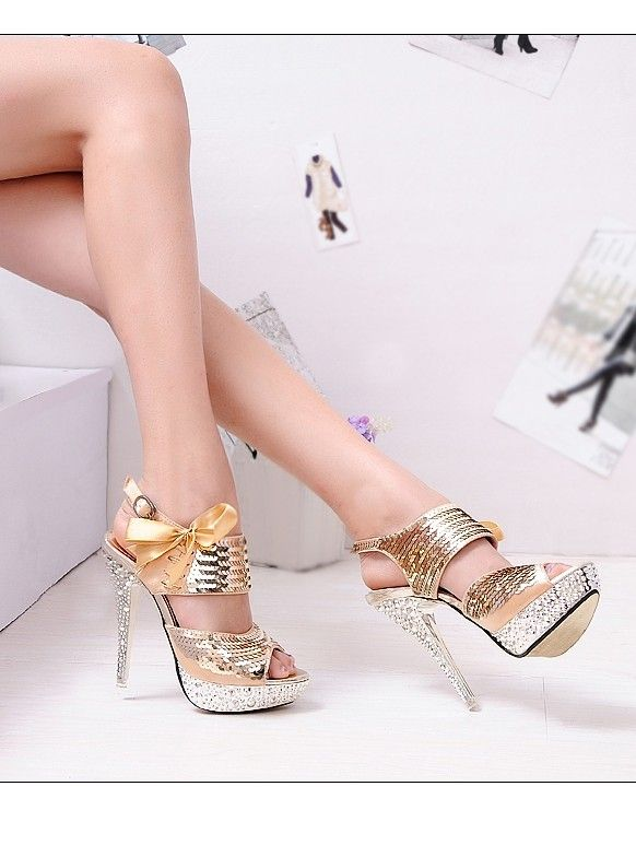 All That Glitters Paillette Embellished High Heels Gold