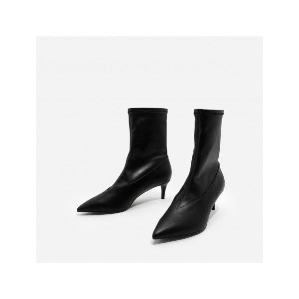 Charles & Keith FITTED CALF BOOTS (61 CAD) ❤ liked on Polyvore featuring shoes, boots, fitted boots, spiked heel boots, low shoes, spiked heel shoes and low boots