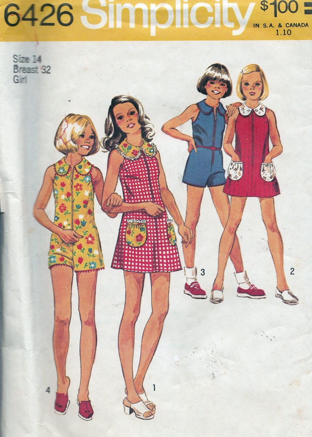 Simplicity 6426 Girls' Short Dress and Jumpsuit Pattern, UNCUT, Size 14. $4.95, via Etsy.