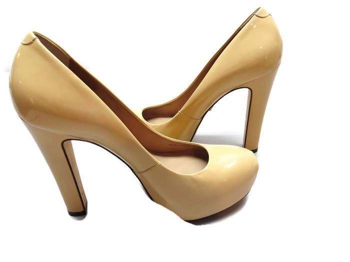 Pour Le Victoire Platform Wedge Stiletto Beige Patent Leather Sz 9 #PourLeVictoire #PlatformWedge #Party