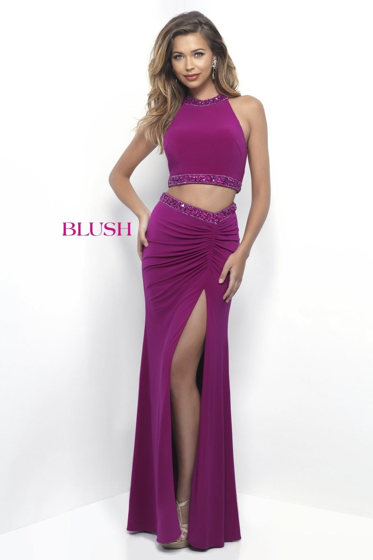 Blush Prom 11284 Magenta Halter Jersey Prom Dress | Products | Pinterest