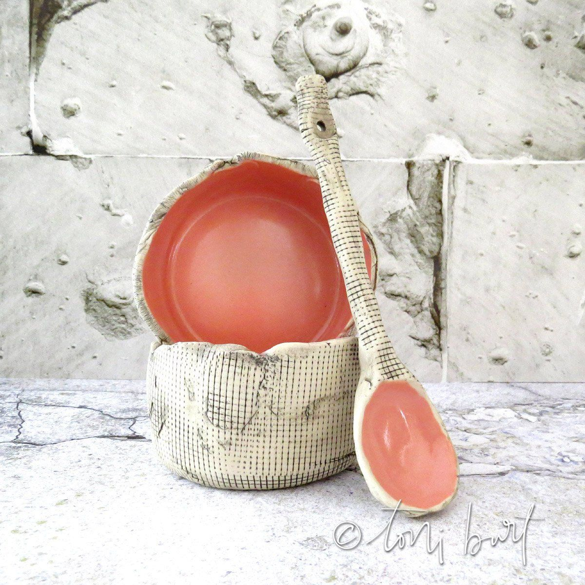 pair of 2 small ceramic bowls with spoon - organic pottery - handmade - of the earth - rustic decorative bowls - OOAK pink salmon glaze