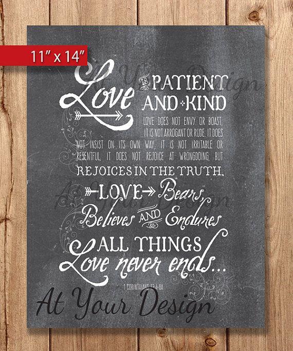 Love is    Chalkboard 1 Corinthians 13 vs 4 thru 8 (ESV) Digital