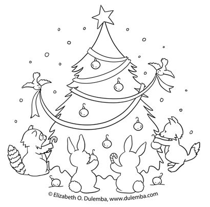 dulemba: Coloring Page Tuesday - Decorating the Christmas Tree