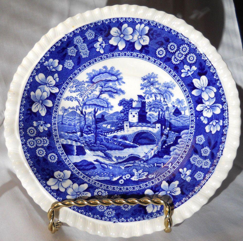 Copeland Spodeu0027s Tower blue saucer 6  English china #CopelandSpode & Copeland Spodeu0027s Tower blue saucer 6