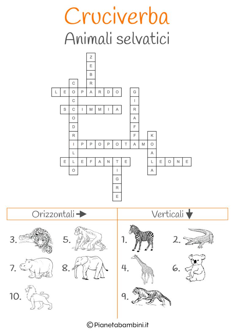 Soluzione Cruciverba Illustrato Sugli Animali Selvatici Cruciverba Illustrazioni Bambino Illustrazione