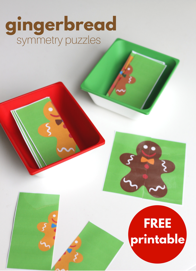 Gingerbread Symmetry Puzzles - Free Printable for Preschool - No Time For Flash Cards