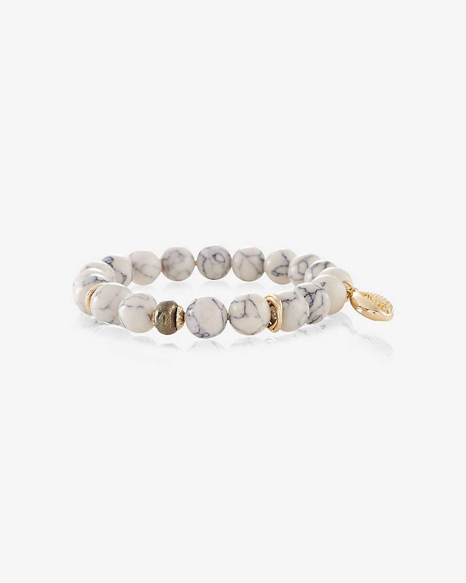 howlite bead and shell charm stretch bracelet