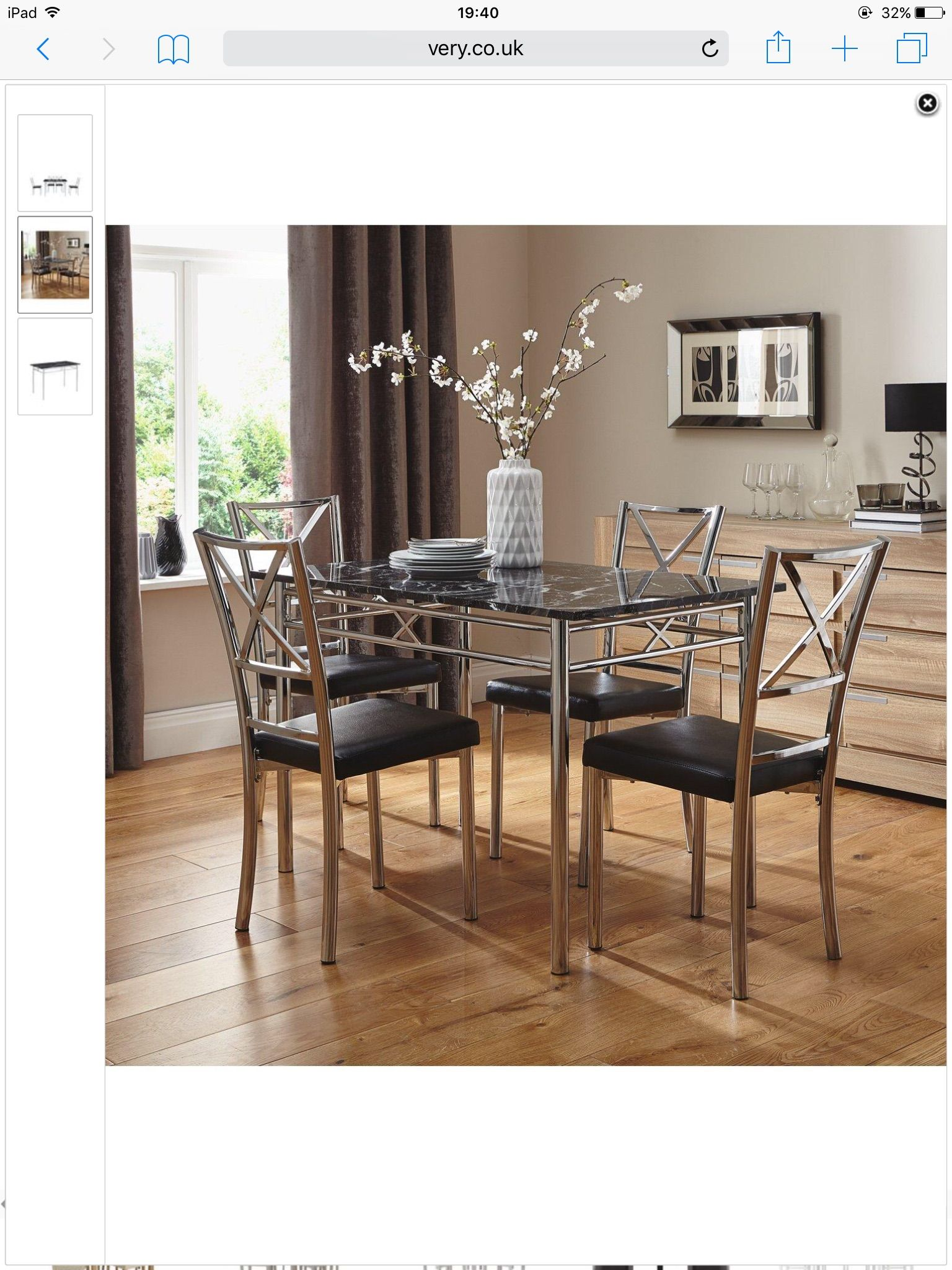 Very marble effect table stainless steel chair legs black