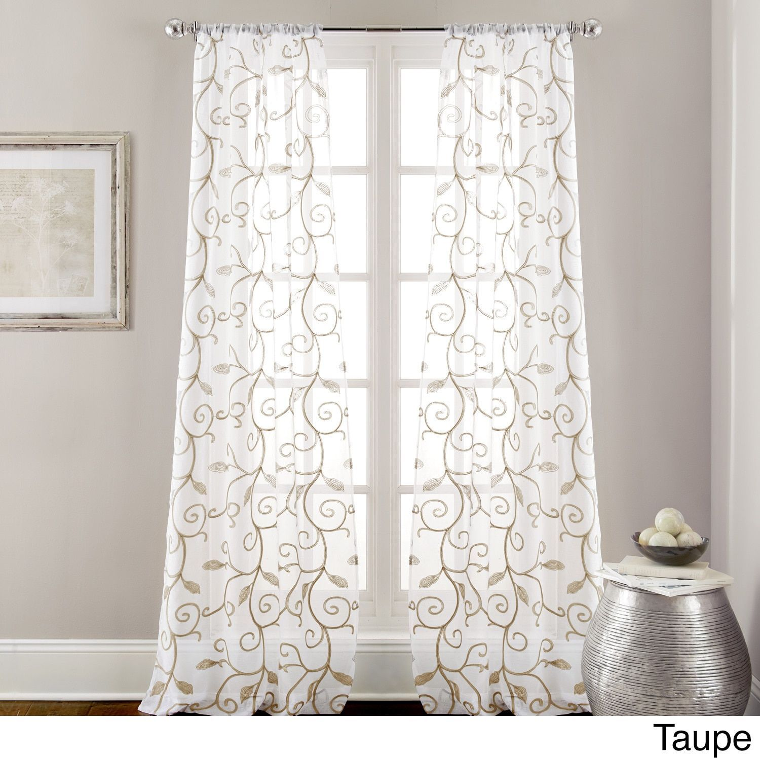 Leaf swirl embroidered curtain panel pair white size