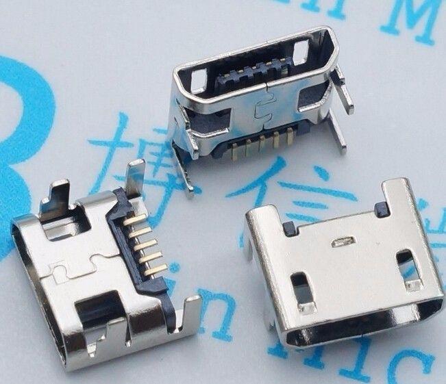 100 pz micro usb connettore pin sedile jack micro usb quattro zampe 5 p inserimento sedile piatto mini connettore usb di trasporto libero