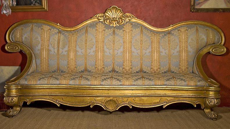 Antique Italian Rococo Style Gilt Wood Sofa - Antique Italian Rococo Style Gilt Wood Sofa - Rococo Style, Red