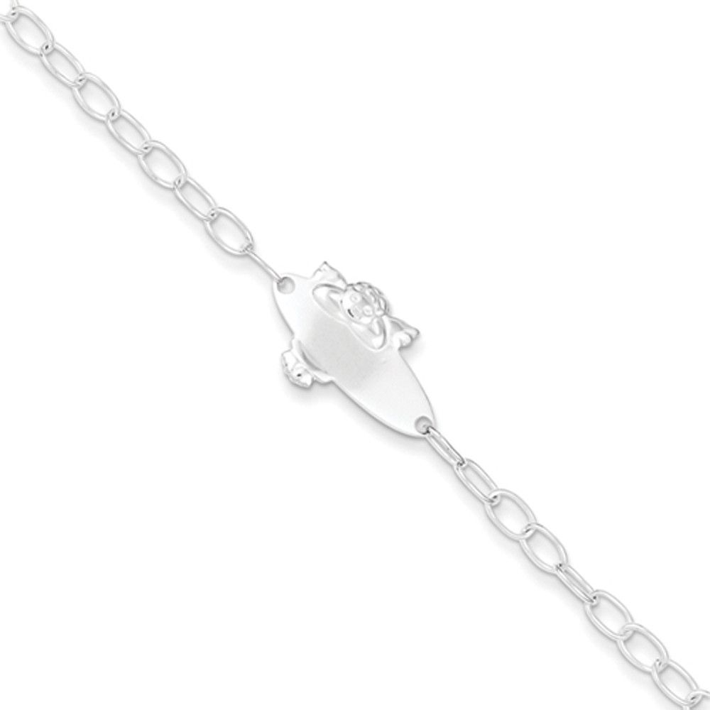 sterling silver inch cable chain baby angel girls id bracelet