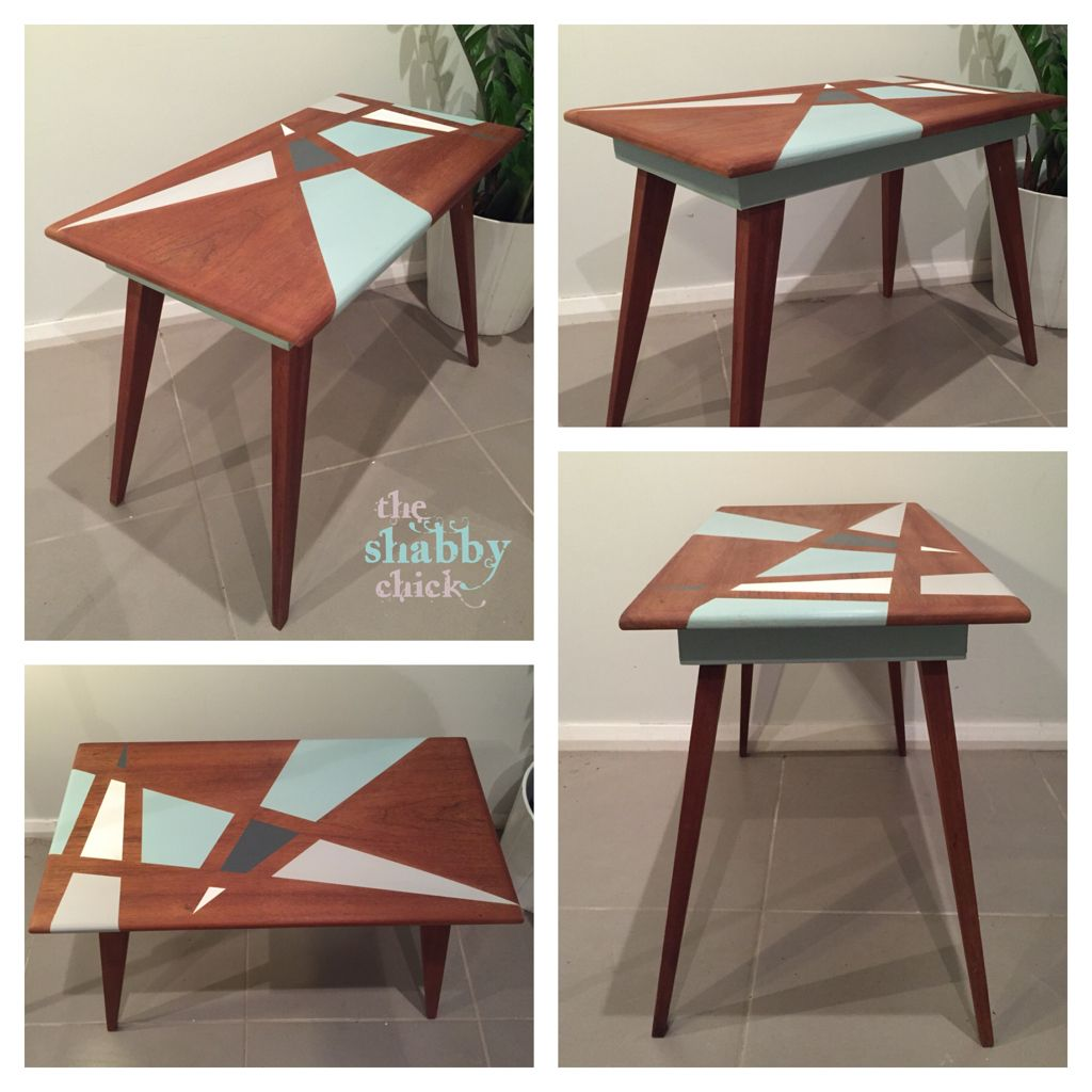 Retro Mid Century Modern Side Table Geometric Pattern Painted In