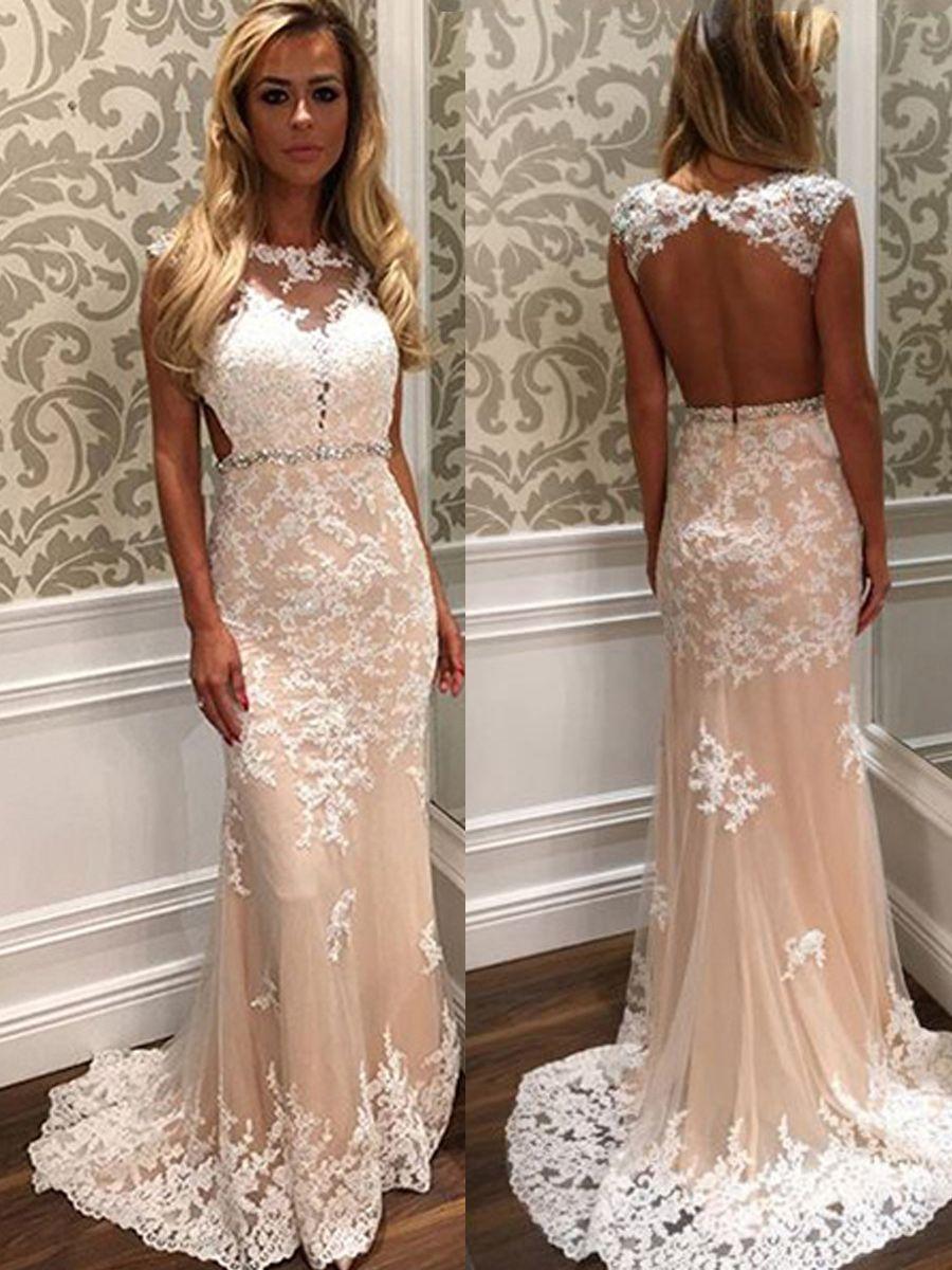 Beaded belt appliques backless wedding dress prom