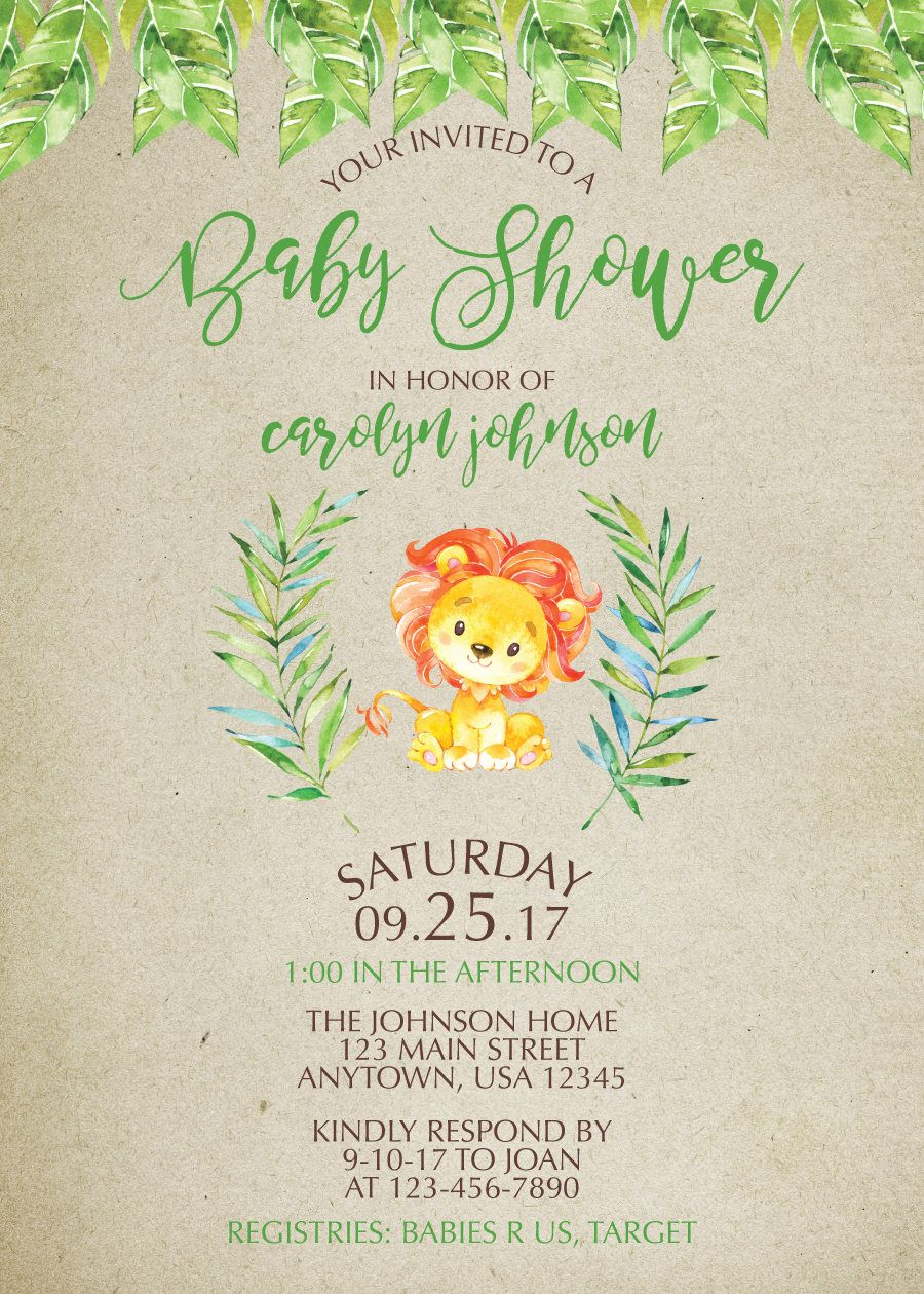 Lion Baby Shower Invitation, Water Color Baby Shower Invitation ...