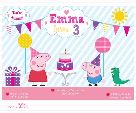 Customized Peppa Pig Digital Printable Birthday Baby By Chesilou 800