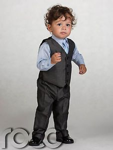 Boys Grey Waistcoat Suit Boys Wedding Suits Baby Boys Charcoal Suits Page Boy
