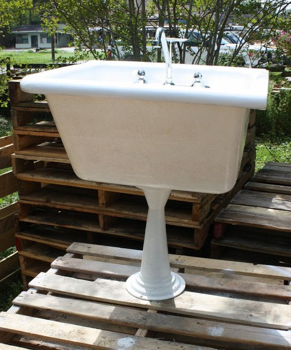 1908 Cast Iron Farmhouse Or Utility Sink With Pedestal Corner And Wall Mount Refinished In Bright