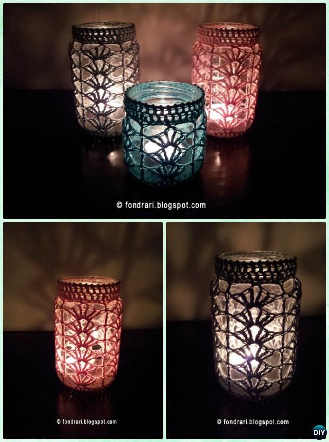Diy Crochet Lacy Shell Stitch Mason Jar Lights Instruction Diy Christmas Mason Jar Lighting Craf Christmas Mason Jars Christmas Diy Christmas Mason Jars Diy