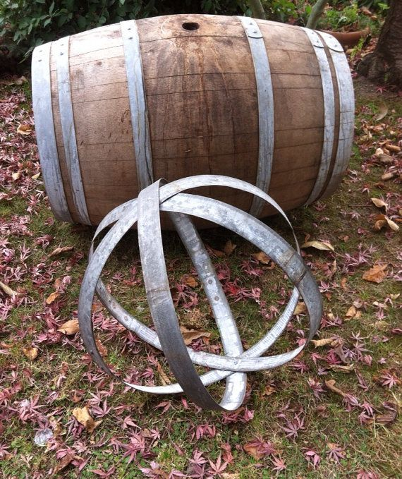 Metal Sphere Sculpture From Recycled Wine Barrel Il