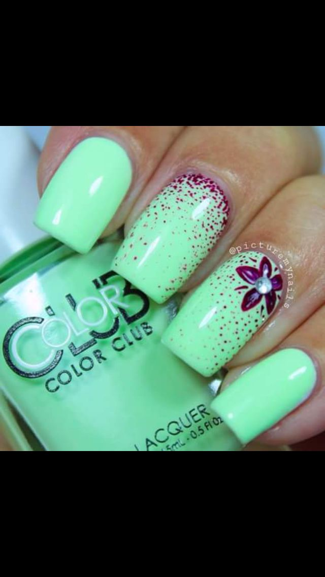 Green nails #bright #holiday #summer | Beauty | Pinterest | Patrones ...