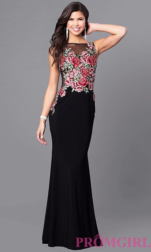 Long Prom Dress with Embroidered Applique Bodice | Gucci, Gucci ...