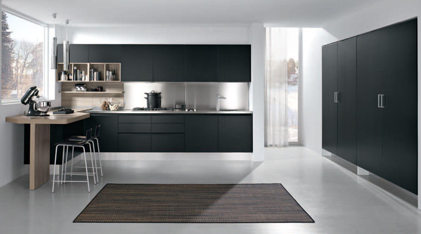Artec linea cuisine noir mat sans poign e cuisine en laque noir mat avec poign e affleurante - Linea cuisine ...