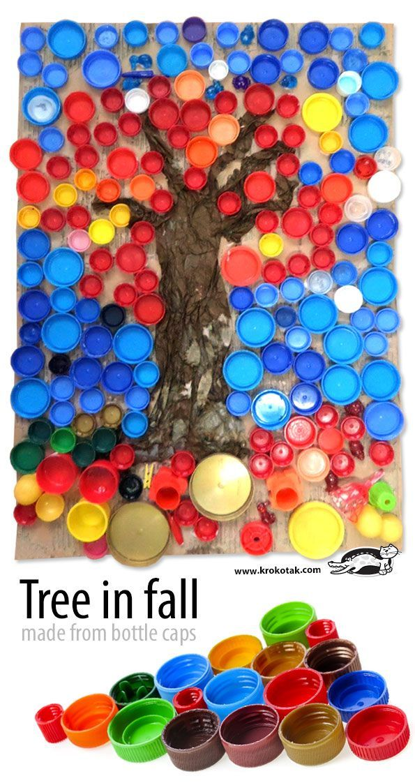 Tree In Fall Made From Bottle Caps Top Crafts