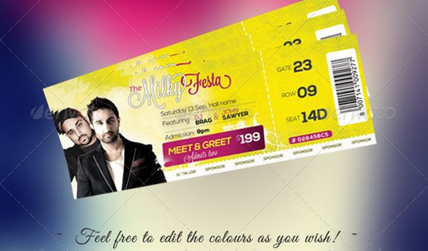 Free Download  Event Tickets Template (PSD) Ticket template and - how to design a ticket for an event