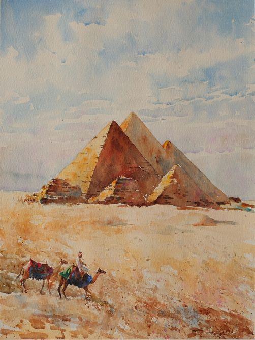 Piramides De Guiza Egipto Acuarela Papel 36 X 48 Cm Obra Original Pieza De Arte Unica Incluy Piramides De Egipto Dibujo Egipto Dibujo Lapices De Acuarela