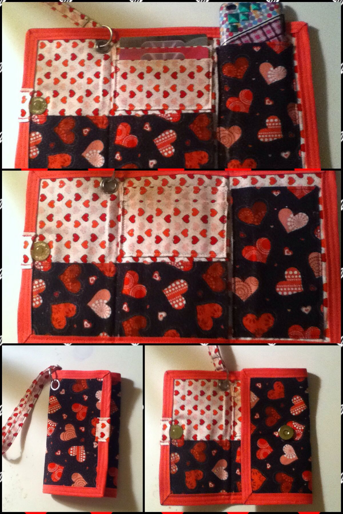 Cute tri fold hearts wallet with wristlet and magnetic clasp Easy to make