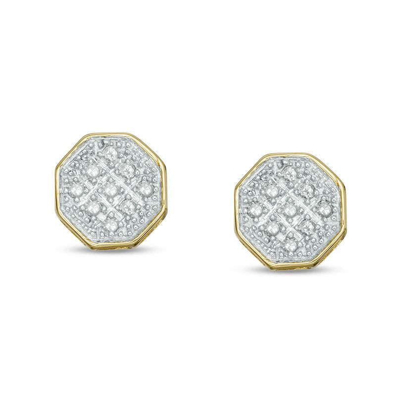 1 20 Ct T W Square Composite Diamond Octagon Stud Earrings In 10k Gold Piercing Pagoda Stud Earrings Stud Earrings Set Diamond