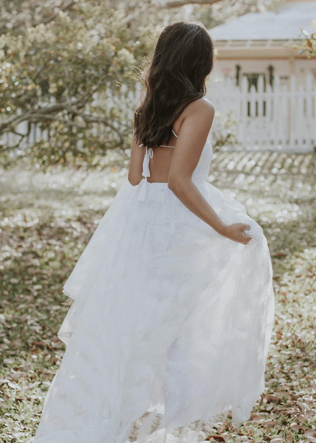 Lace hippie wedding dress  Feather Lace Halter Wedding Dress with Crossing Straps and Dangling