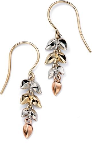 REDUCED BY £50 Ge918 9Ct Yellow, White And Rose Gold Leaf Drop Earrings