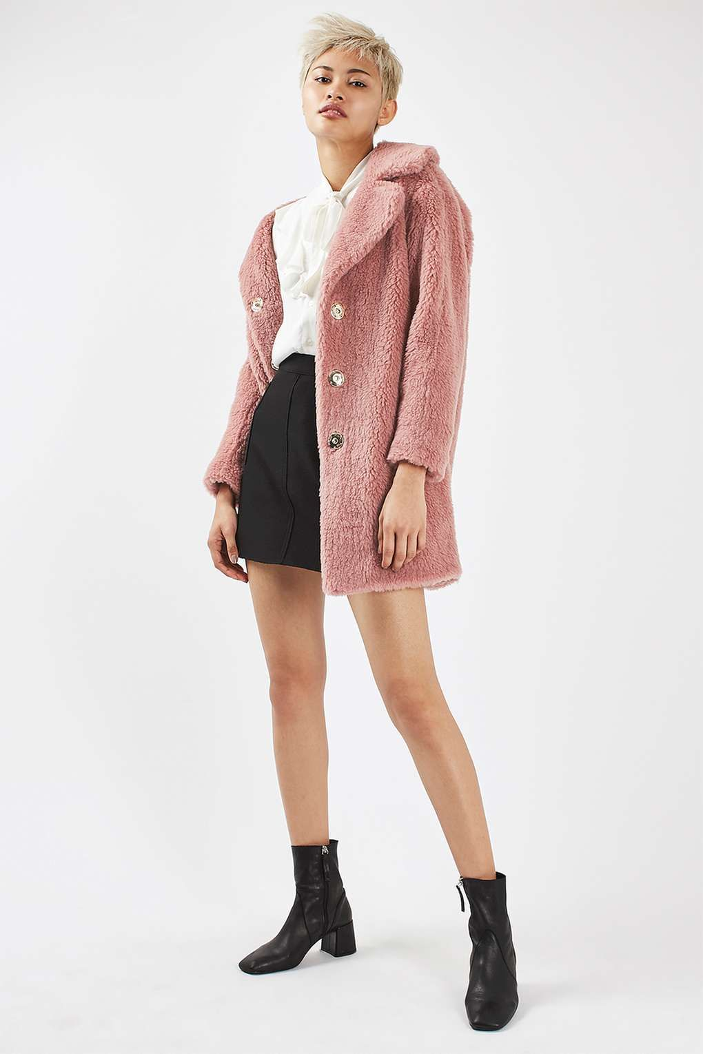 Pink Casual Faux Fur Coat | Fur coat