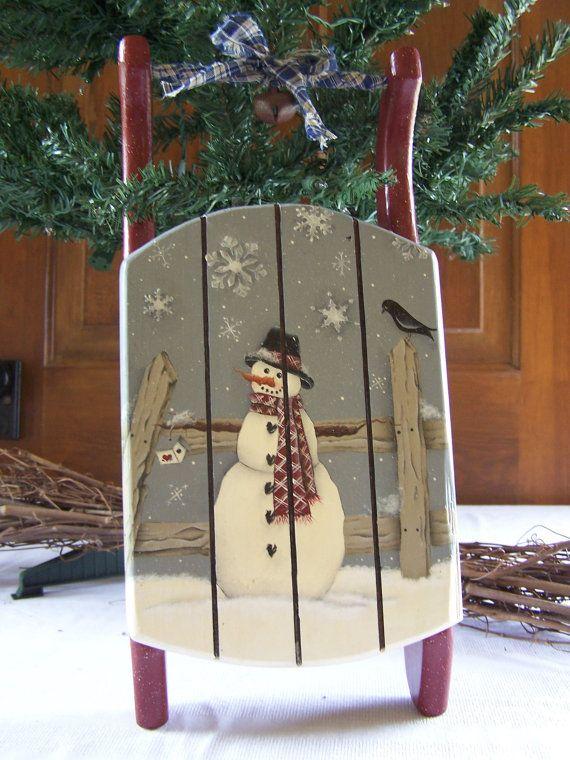 Winter Decoration Primitive Folk Art Decorative Wood Mini Sled Christmas Sleigh Decorations Christmas Paintings Christmas Sled Decoration