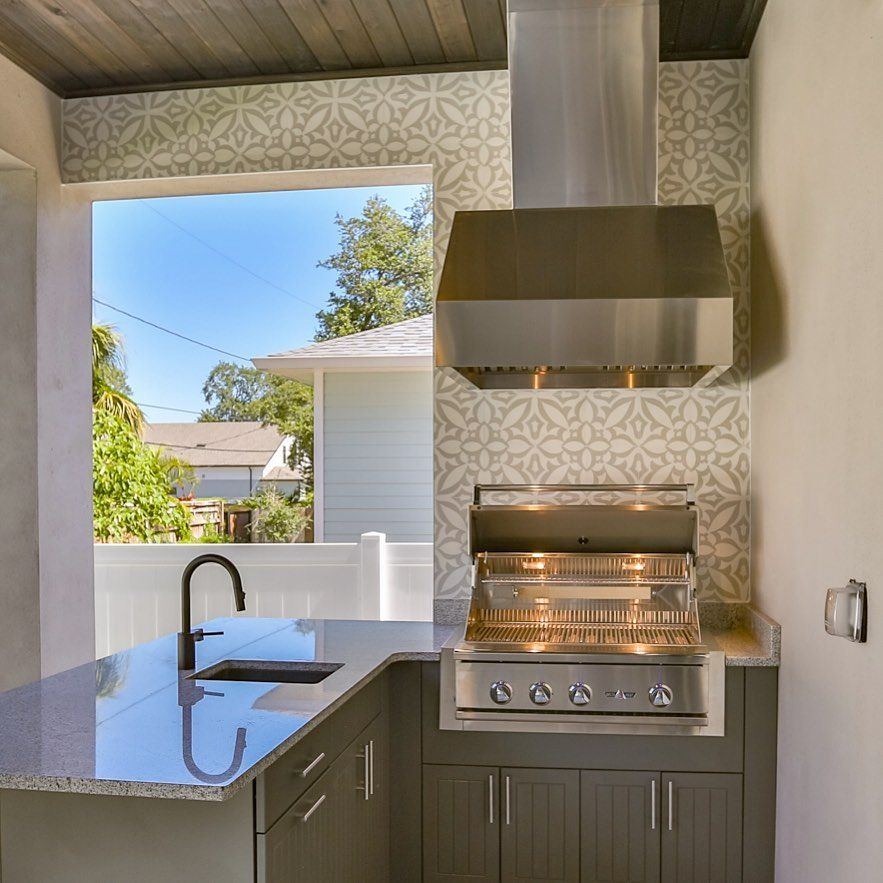 Cement Tile Shop On Instagram Check Out This Outdoor Kitchen From Blan Colorful Kitchen Backsplash Contemporary Kitchen Backsplash Unique Kitchen Backsplash