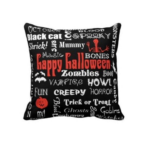 Terrific #halloween #pillow with fun #typography elements