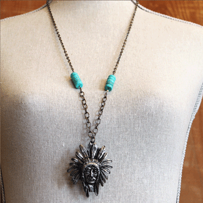 The Lucky Cowgirl - Indian Chief Necklace, $24.99 (http://www.theluckycowgirlshop.com/indian-chief-necklace/)