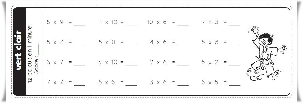 Ceintures de tables de multiplications nouvelle version for Exercice table de multiplication cm1