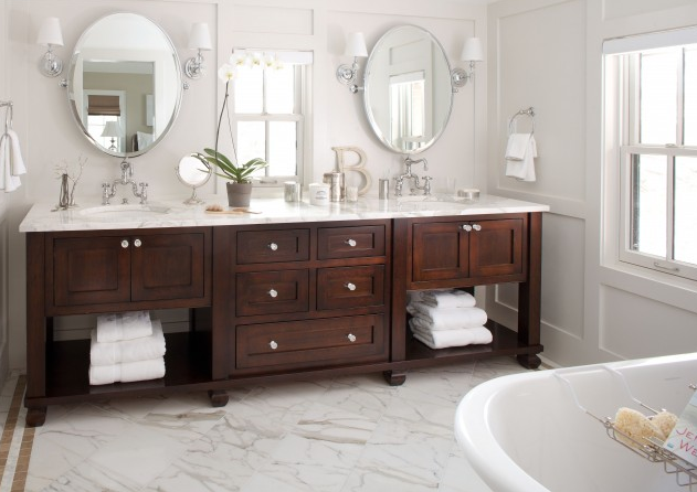 Master Bath Vanity Inspiration Bathroom, : Traditional Freestanding Bathroom  Vanity With Dark Lacquer Finishing Ideas And Double Sink Ideas Design